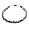 6 mm AAA Quality Certified Black Diamond Beads Bracelet In Sterling Silver