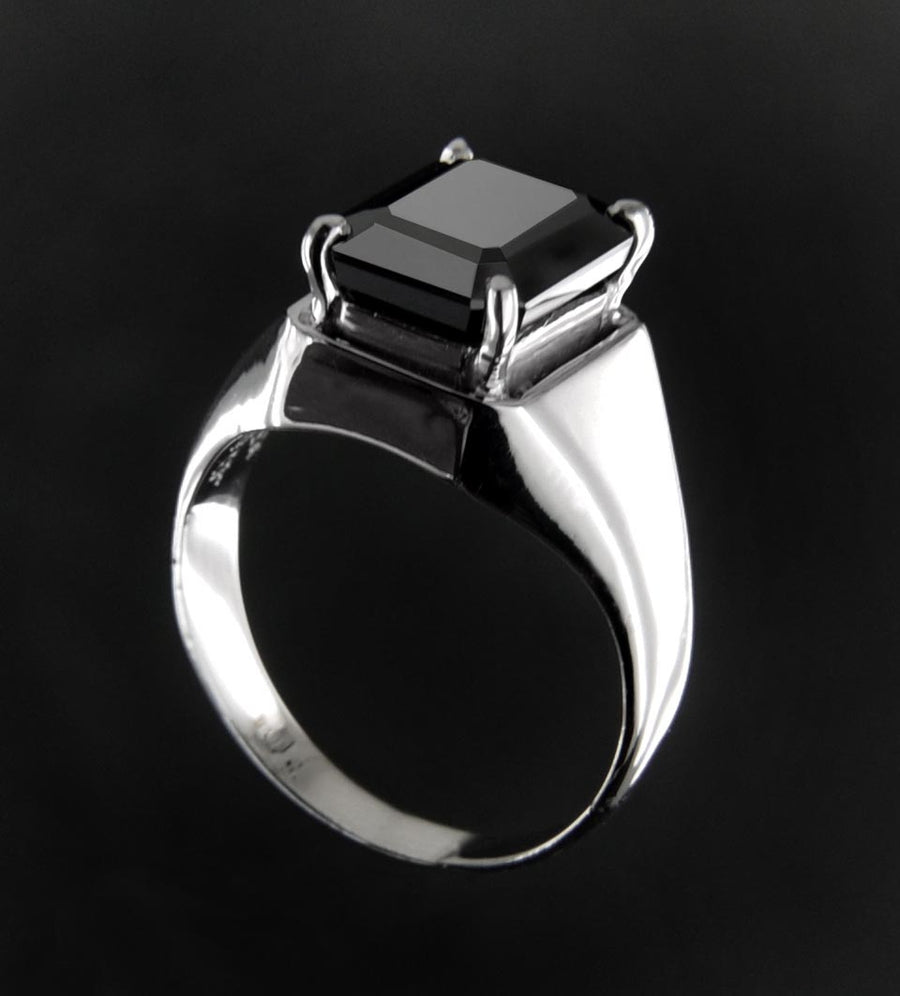Emerald Cut Black Diamond Solitaire Men's Ring
