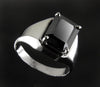 3 Cts Stunning Emerald Cut Black Diamond Solitaire Men's Ring, AAA Quality - ZeeDiamonds