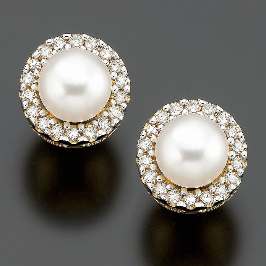 Round Pearl Stone with White Diamond Accents Solitaire Studs Earring In 925 Silver - ZeeDiamonds