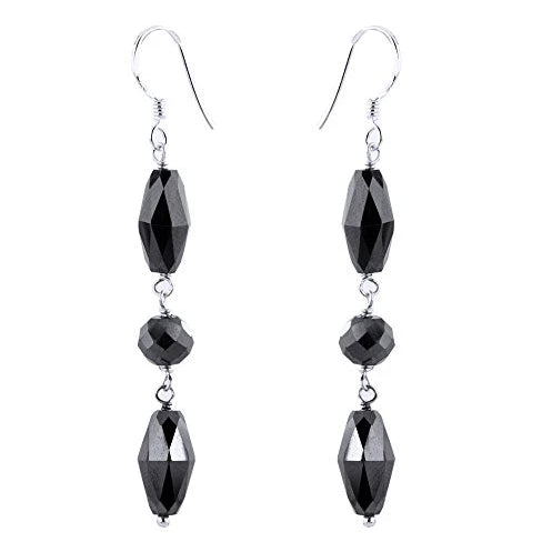 19 Ct Certified Black Diamonds Dangler Silver Earrings - ZeeDiamonds