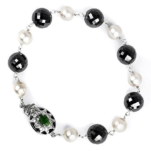 Handmade Black Diamonds Bracelet with Pearls 5-6 mm AAA.Certified - ZeeDiamonds