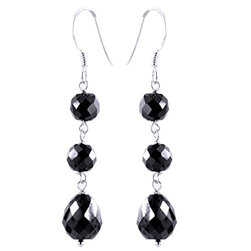 6 mm Round Black Diamonds Dangler Earrings in 925 Silver - ZeeDiamonds