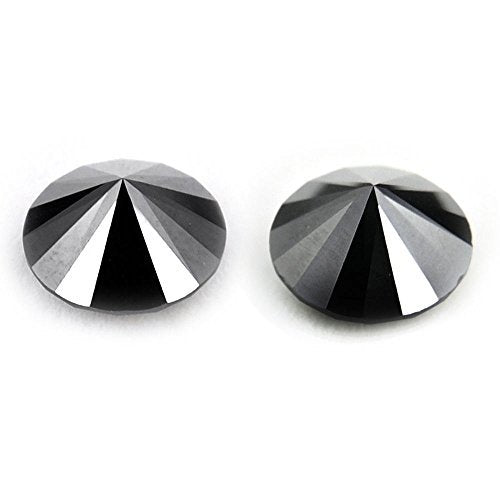 Solitaire Black Diamond Certified 2.30 Ct Round Brilliant Cut Pair.AAA - ZeeDiamonds