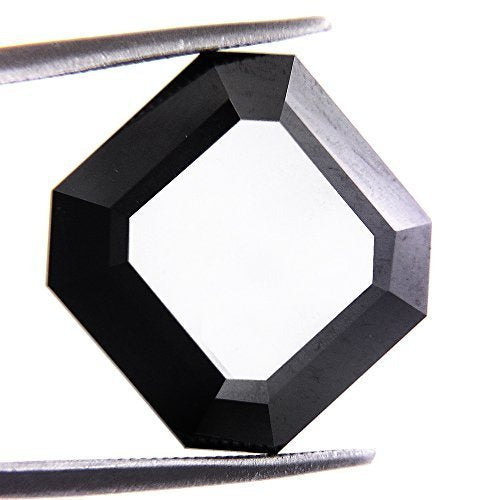 Buy Online 9.80 Ct Loose Asscher Cut Certified Black Diamond.100% Genuine - ZeeDiamonds