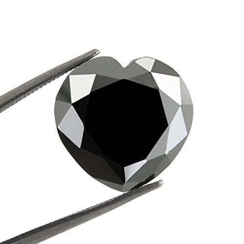 Black Diamond Solitaire Loose Heart Checker Cut 3.75 Cts.Earth Mined