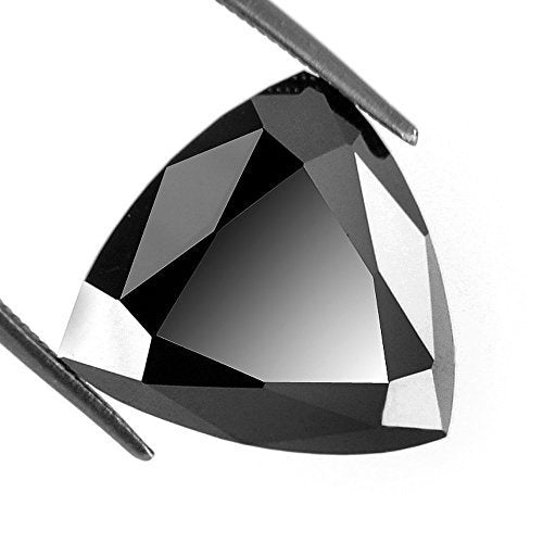 Certified Black Diamond Solitaire Loose Trillion Cut 4.75 Ct Earth Mined