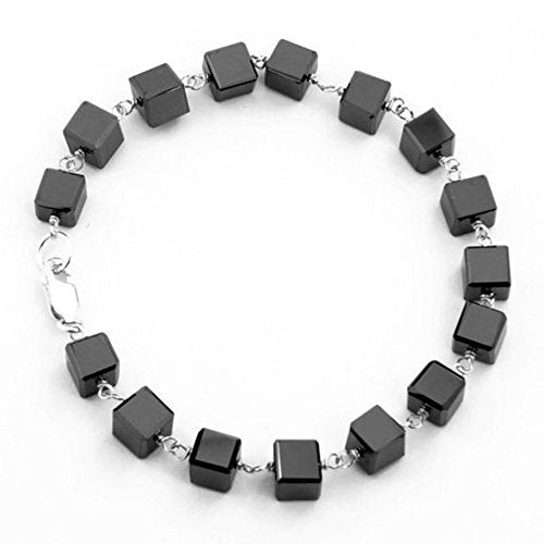 5-6 mm Cube Shape Jet Black Diamond Bangle Bracelet in Sterling Silver wire, - ZeeDiamonds