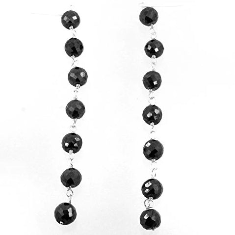 5mm Round Black Diamonds Beads Dangler Earrings Sterling Silver.AAA - ZeeDiamonds