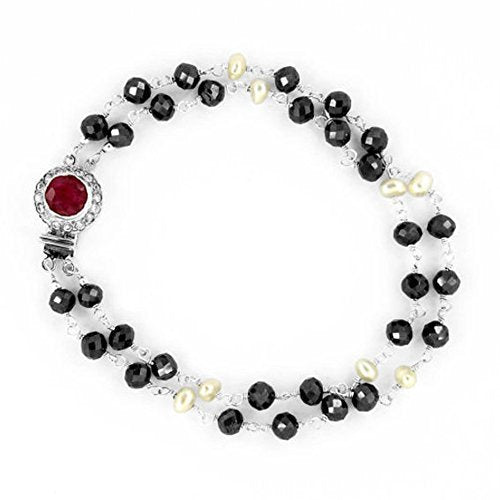 2 Row Black Diamond and Pearl Bracelet. 4 mm in Sterling Silver.AAA - ZeeDiamonds