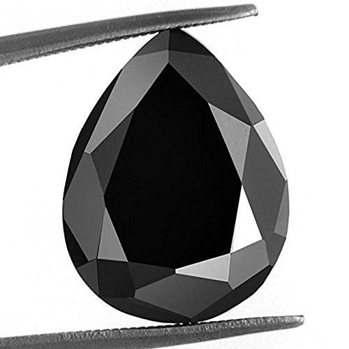 5.50 Ct Pear Checker Cut African Black Diamond With Certificate AAA - ZeeDiamonds