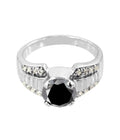 1.20 Ct Round Cut Black Diamond Ring With Diamond Accents, Beautiful Shine - ZeeDiamonds