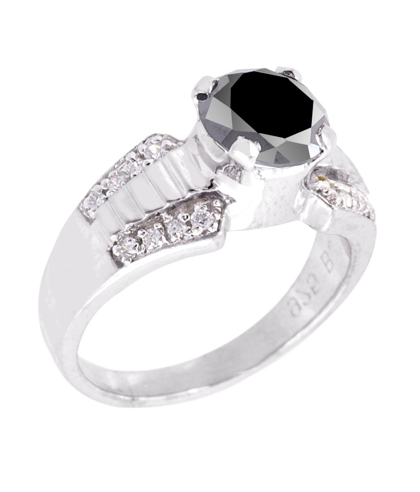 1.20 Ct Round Cut Black Diamond Solitaire Ring With Diamond Accents, Beautiful Shine - ZeeDiamonds