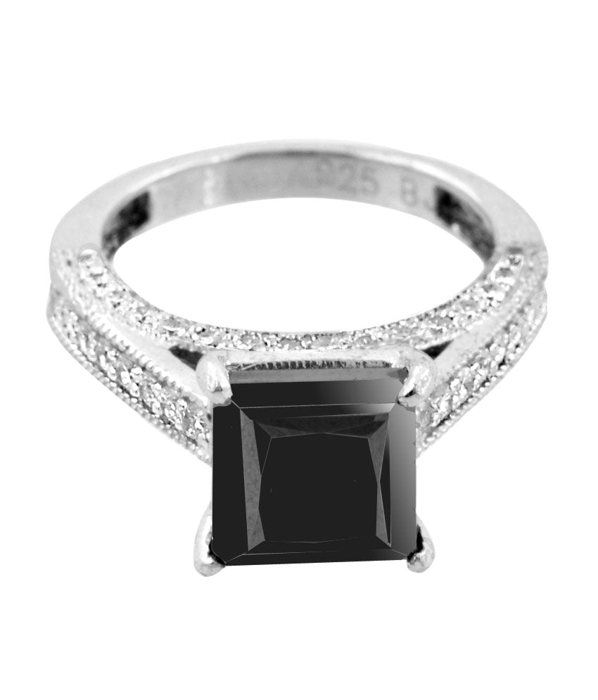 2.50 Ct AAA Quality Black Diamond Ring with Diamond Accents, Elegant Shine - ZeeDiamonds