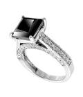 1-3 Ct AAA Quality Princess Cut Black & White Diamond Ring - ZeeDiamonds
