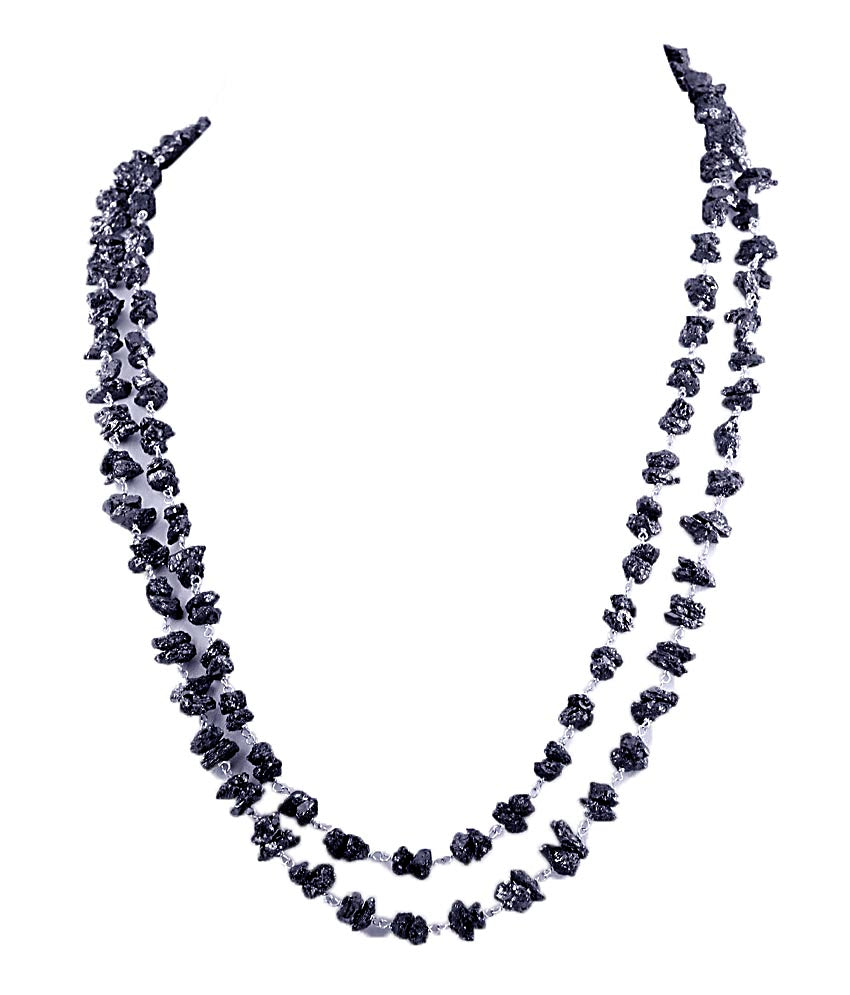 Two Row 3mm-4mm Rough Black Diamond Beads Necklace