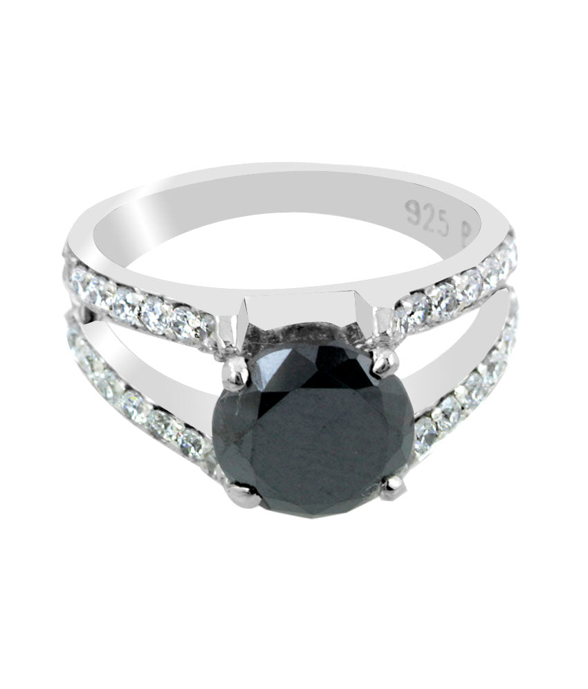 1 Ct AAA Quality Brilliant Cut Black Diamond Ring with Diamond Accents, Great Sparkle - ZeeDiamonds