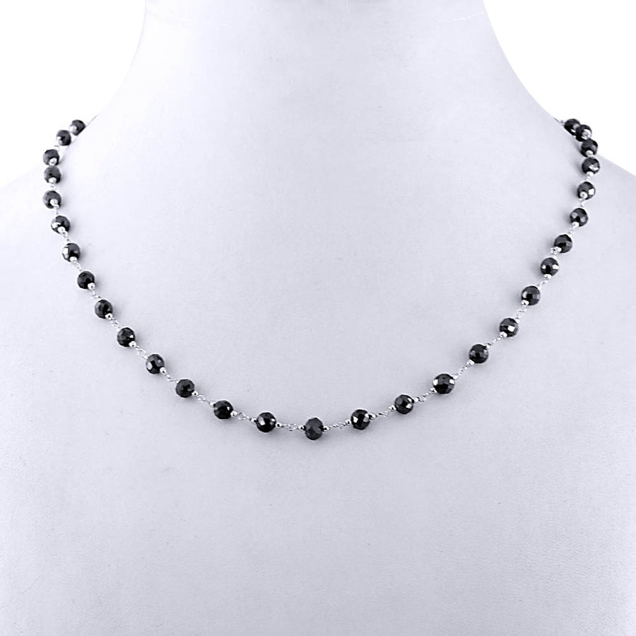 AAA Quality 4mm Black Diamond Wire Necklace in Sterling Silver - ZeeDiamonds