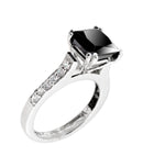 1-3 Ct Princess Cut Black Diamond Ring With Diamond Accents - ZeeDiamonds