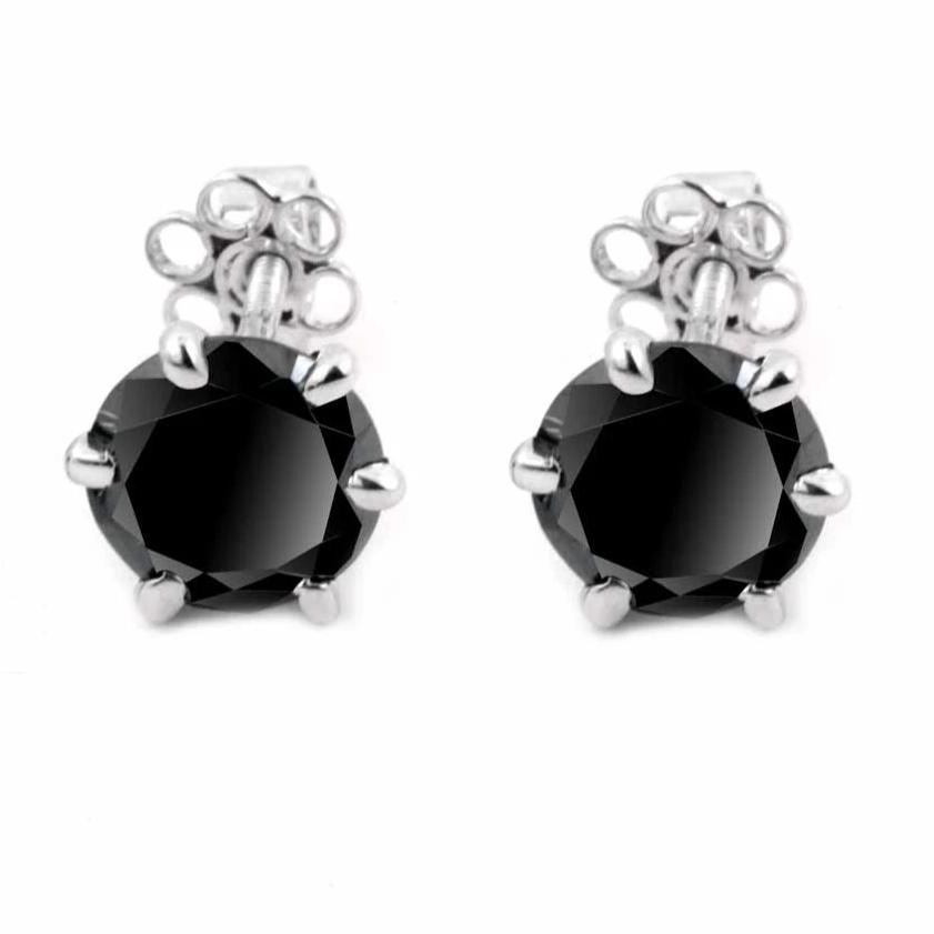 3 Ct Black Diamond Solitaire Studs in 6 Prong Setting - ZeeDiamonds