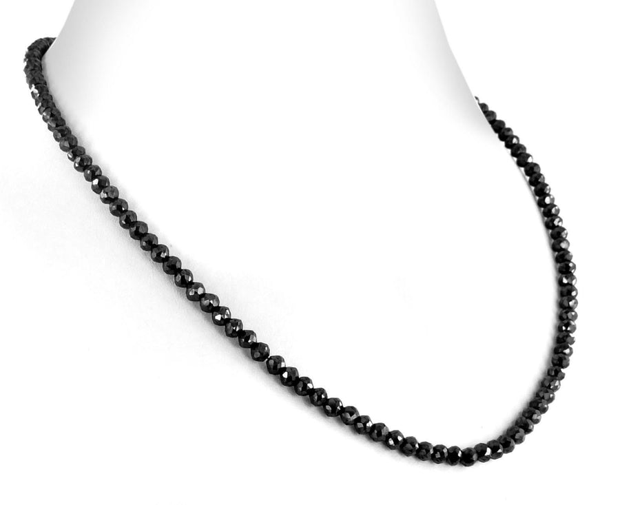 4 mm Black Diamond Necklace, 26 Inches, Free Black Diamond Studs - ZeeDiamonds