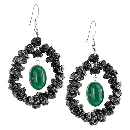 35 Cts Rough Black Diamond Beaded Earrings with Emerald - ZeeDiamonds