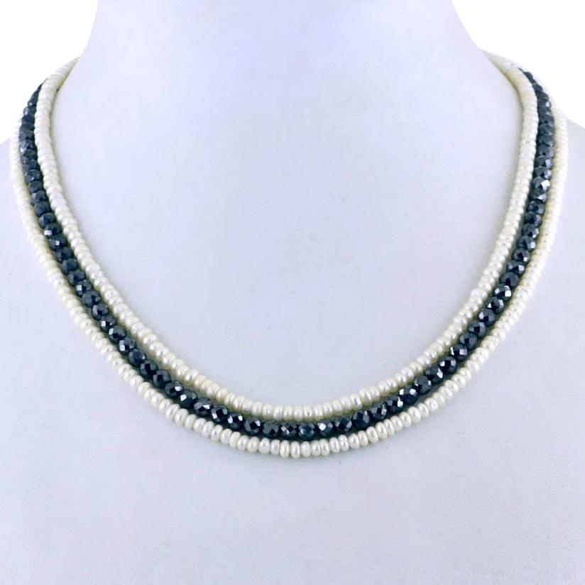 Unique Style Three Row Pearl & Black Diamond beads Necklace