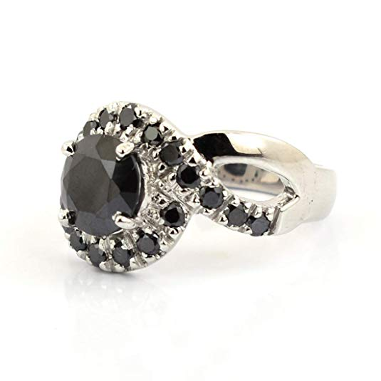 1.75 Ct Round Cut Black Diamond & Black Diamond Accents Designer Ring - ZeeDiamonds