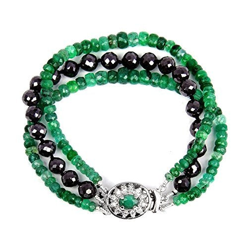 Three Row 3-4mm Black Diamond & Emerald Gemstone Bracelet in silver.AAA