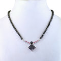 Exclusive Princess Cut Black Diamond and Ruby Pendant Necklace Set