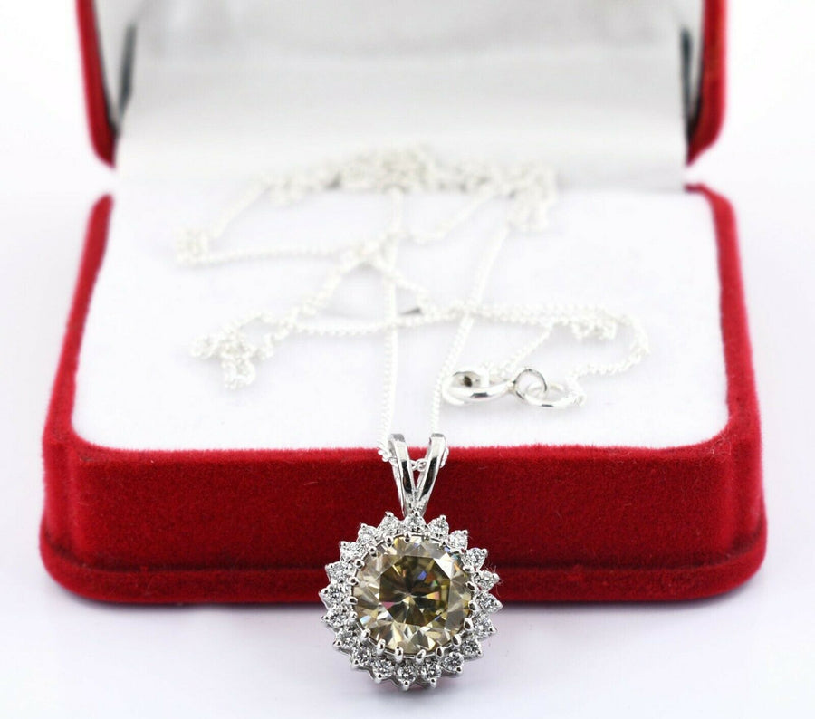 3.30 Ct Champagne Diamond Pendant With White Diamond Accent - ZeeDiamonds