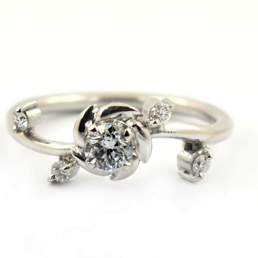 0.34 Ct Solitaire Diamond Ring With Diamond Accents - ZeeDiamonds