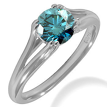 14 K Solid White Gold Ring with 0.26 Ct Certified Blue Diamond. VVS1; G Color - ZeeDiamonds