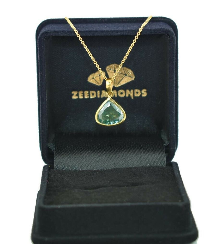 3.07 Grams 100% Certified Pear Cut Unique Blue Diamond Pendant In Yellow Gold - ZeeDiamonds