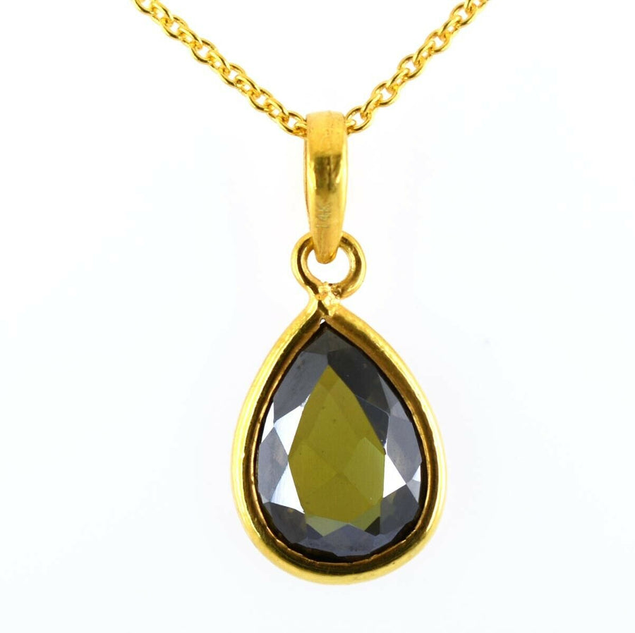 2.25 Grams Pear Faceted Greenish Blue Diamond In 14 K Yellow Gold, Finish - ZeeDiamonds