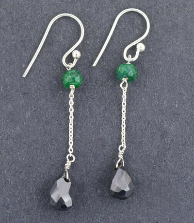 Designer Black Diamond Dangler Earrings With Emerald Gemstone Beads