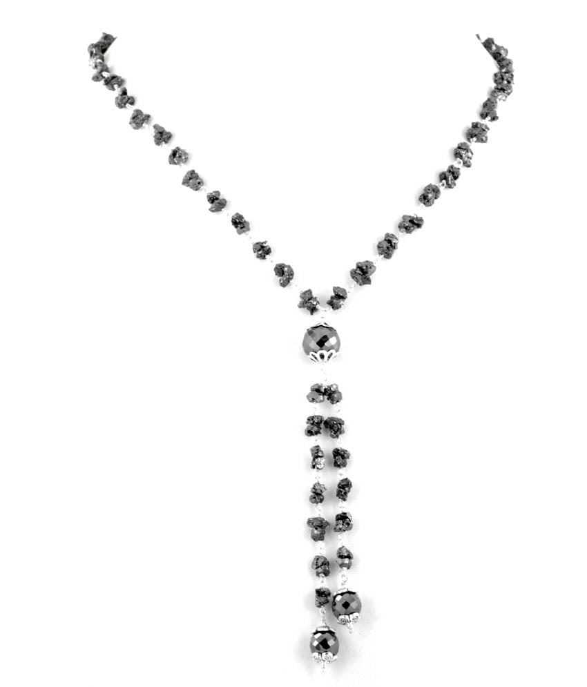 5-6 mm, Rough Diamond Lariat Style Necklace - Free Diamond Studs