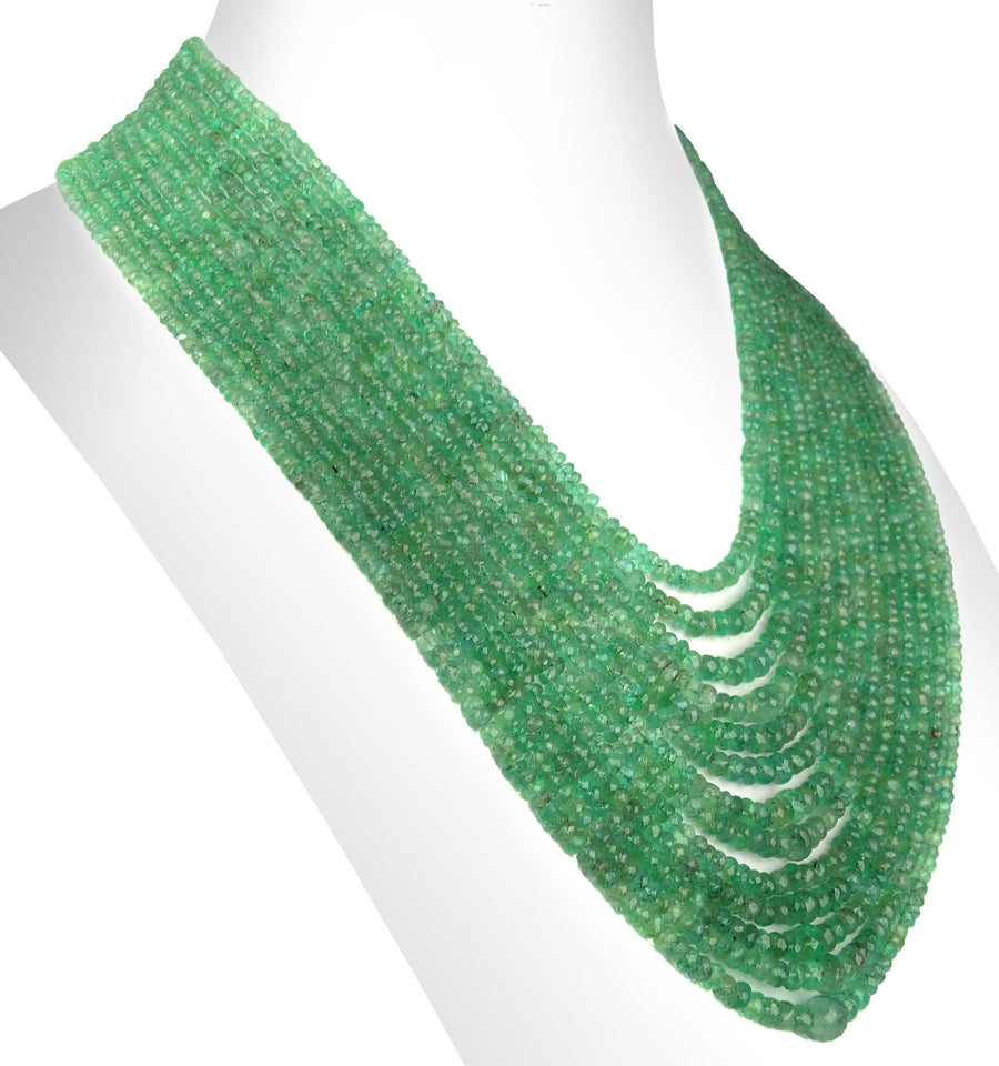 3 - 5 mm Rare 13 Strand Emerald Gemstone Beads Necklace For Gift, - ZeeDiamonds