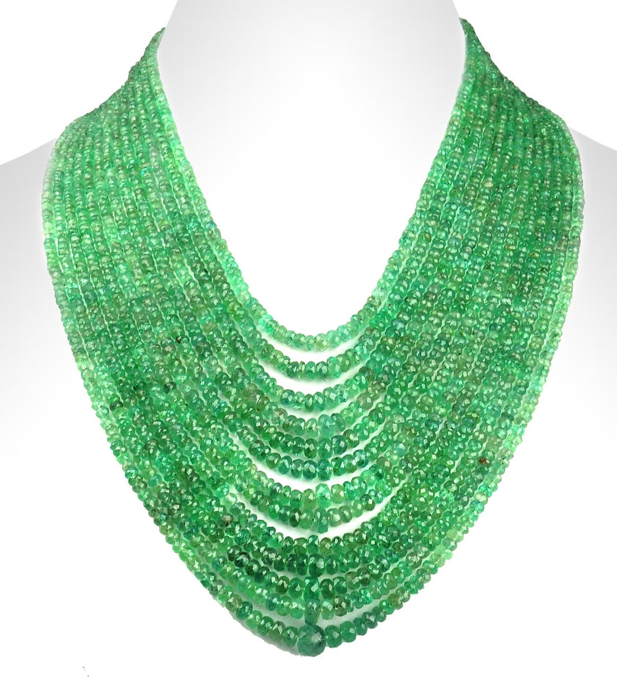 Rare 13 Strand Colombian Emerald Gemstone Necklace