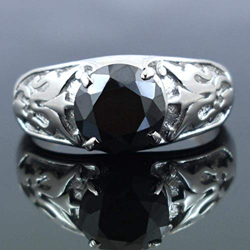 2.5 Cts Certified Black Diamond 925 Sterling Silver Designer Ring For Gift - ZeeDiamonds