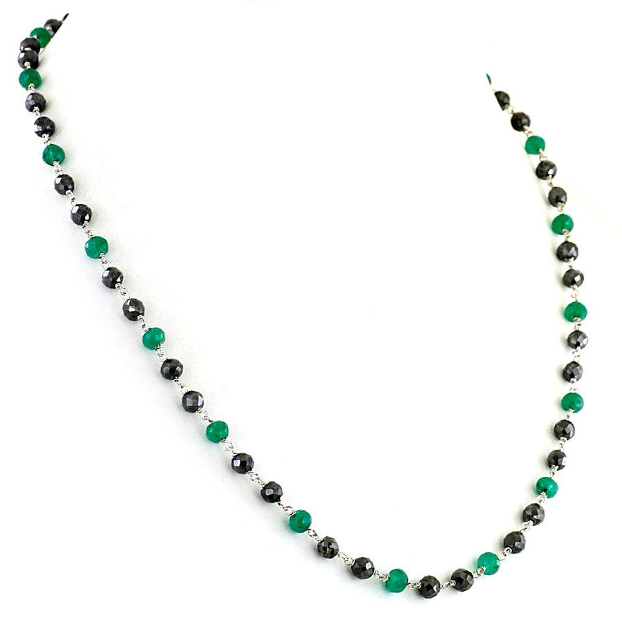 4-5 mm Black Diamond and  emerald Beads Chain Necklace in Sterling Silver - ZeeDiamonds