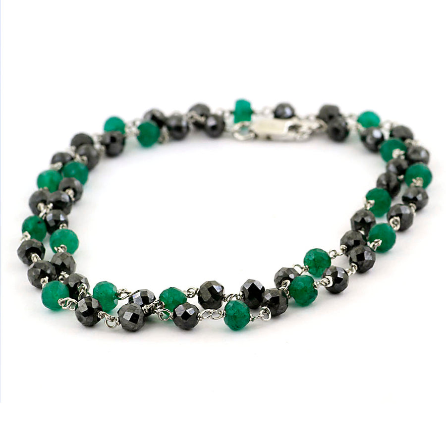 4-5 mm Black Diamond and Emerald Beads Chain Necklace - ZeeDiamonds