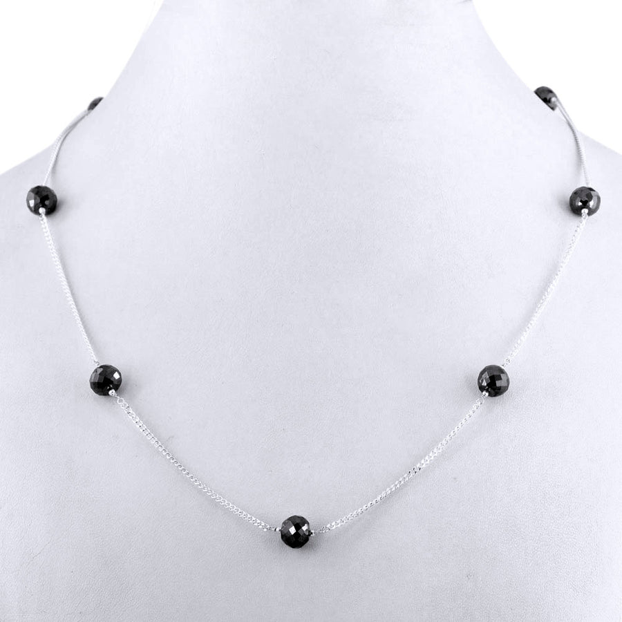 Single Row Black Diamond Chain Necklace in Sterling Silver