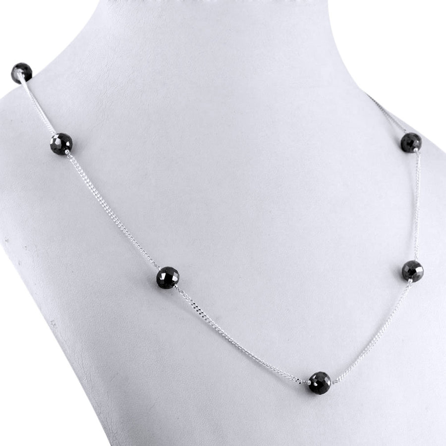 Single Row Black Diamond Chain Necklace in Sterling Silver - ZeeDiamonds