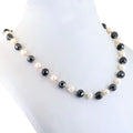 Single Row Black Diamond Chain Necklace in Sterling Silver.AAA
