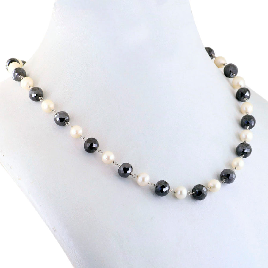 Single Row Black Diamond Chain Necklace in Sterling Silver.AAA - ZeeDiamonds