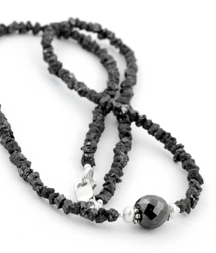 4-5 mm single row Rough Black Diamond Beads Necklace - ZeeDiamonds