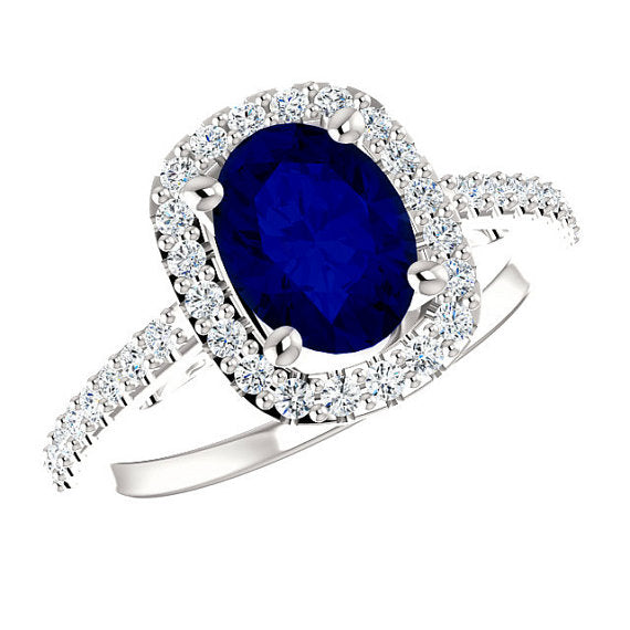 Oval Blue Sapphire Engagement Ring With White Diamond Accents - ZeeDiamonds