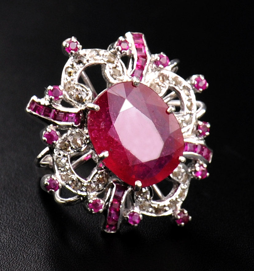 Ruby Gemstone Cocktail Ring in Sterling Silver With Rose Cut Diamonds - ZeeDiamonds