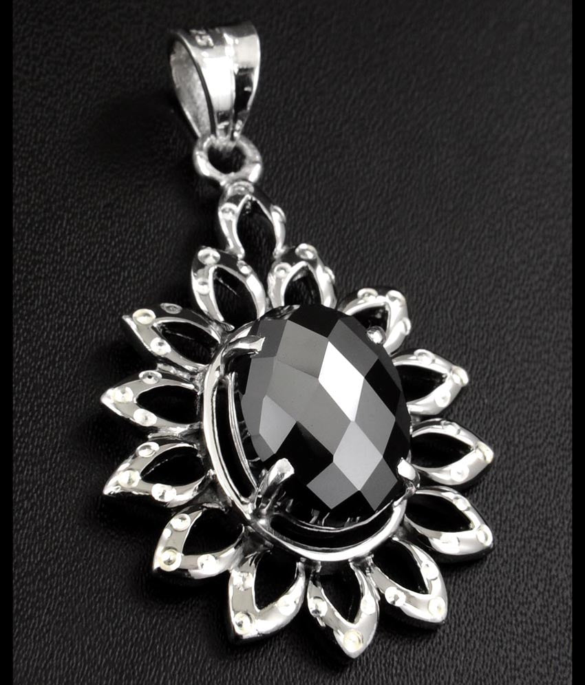 Certified Oval Checker Cut Black Diamond Pendant In Sterling Silver- Free Chain